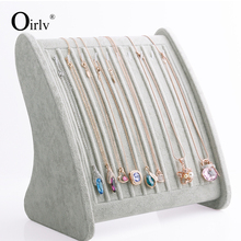 Oirlv Free Shipping Tall Necklace Pendant Display Stand Prop Silver Grey Ice Velvet Jewelry Shop Exhibitor 10 Hooks Shelf Board