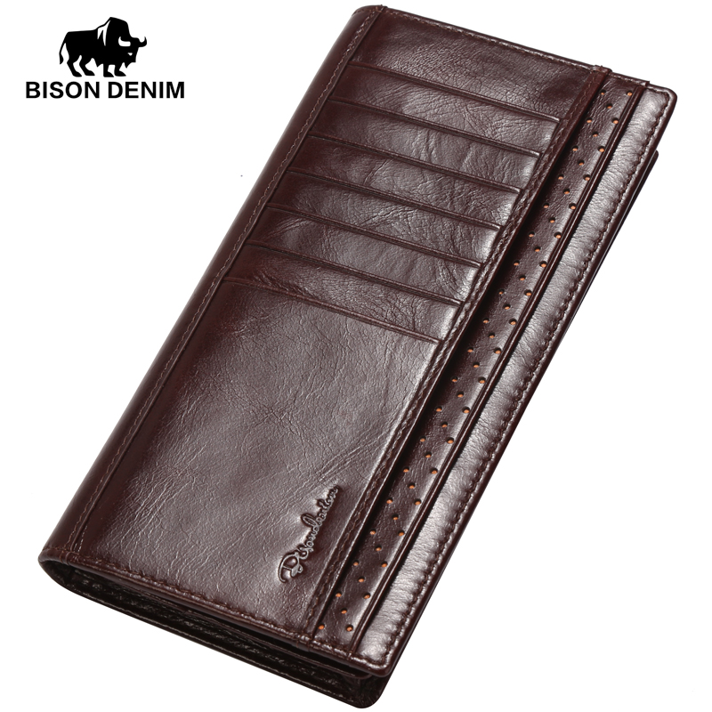 BISON DENIM 2017 Original Design leather long Wallet Men High Grade First Layer Cowskin purses Brand men Clutch Wallets W4406-1<br><br>Aliexpress