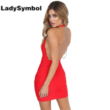 LadySymbol Sexy Backless Chain Bodycon Dress Women Summer 2017 Casual Halter Dress Elegant Short Party Club Autumn Mini Dresses