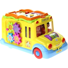 Huiyu 796 Intelligent Campus Bus Toy Car Children's Puzzle Early Childhood Education Toy Car Electric Car Universal Light Learni