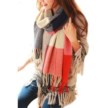 Warm Winter Women Long Cashmere Wool Scarf Large Shawl Lady Soft Tassel Plaid Pretty Long Wrap Scarf size Scarves Warm Women Tip(China)