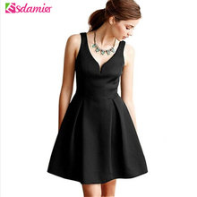 New Arrival V Neck Little Black Dress Women Elegant Empire Waist Backless Party Dresses Robe Femme Off Shoulder Women Dress(China)
