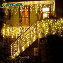 OSIDEN 4M Curtain Icicle Led String Lights Christmas Outdoor Decoration Indoor Droop 0.3-0.5m New Year Garden Party 110 220V(China)