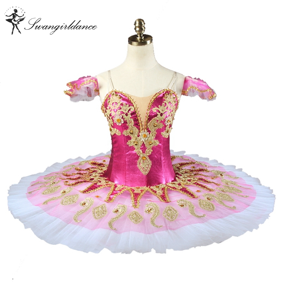 Newtest Rose Red Professional Tutu Nutcracker Stage Cosutmes Tutus Girls Pink Fairy Classical Pancake Tutu Dress 8colors BT9134G