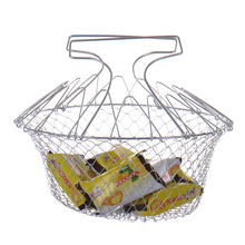 1PC Foldable Steam Rinse Strain Fry Chef Basket Magic Basket Mesh Basket Strainer Net Kitchen Cooking Tools