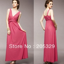 Charming Wide Straps Womens Wrapped Low Deep V-neck Full Ankle Length Maxi Party Dress(China)