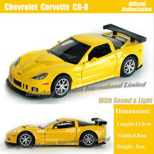 1:36 Scale Diecast Alloy Metal Car Model For Chevrolet Corvette C6-R Collection Model Pull Back Toys Car With Sound & Lights