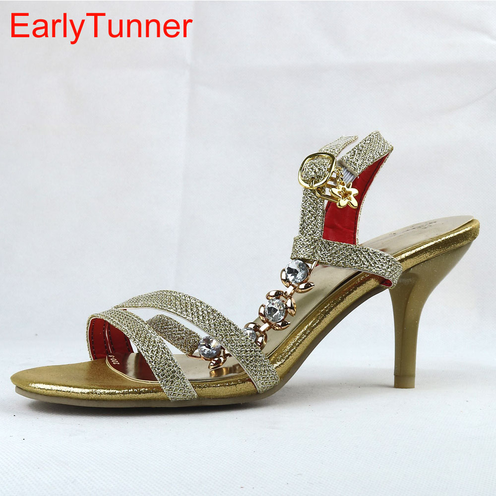 Brand New Sexy Women Crystal Sandals Red Gold Silver Ladies High Heel Fashion Shoes Open Toe AY222-1 Plus Big Size 32 48<br>