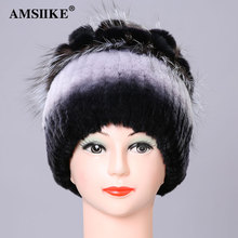 AMSIIKE Women's Cap 2017 Winter femal Hat Natural Rex Rabbit Fur With Silver Fox Fur flowers pattern Knitted Beanies Hat TM2135(China)
