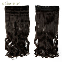 SNOILITE 17inch 5 clip in Hair Extensions clips on Curly Hairpiece Heat Resistant Fiber Synthetic Hair Dark Brown