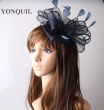 17colors fascinators sinamay base with feather navy millinery sinamay loops bridal cocktail hats feather tocados sombreros bodas