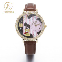 Miss Keke 3d Clay Cute Mini World Bear Rhinestone Watches Clocks Relogio Feminino Ladies Women Quartz Leather Wristwatches 924(China)