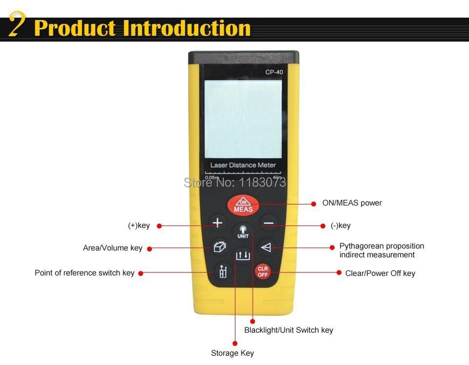 Handheld Digital Laser Distance Meter RangeFinder Measure Distance Area Volume With Bubble Level Measurer Tool 0.05M-40M /131ft<br>