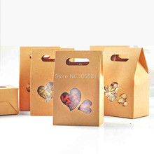 30X Eco friendly kraft paper box 10*15.5cm+6cm with heart window stand up food pouch wedding favors can Customize logo printing