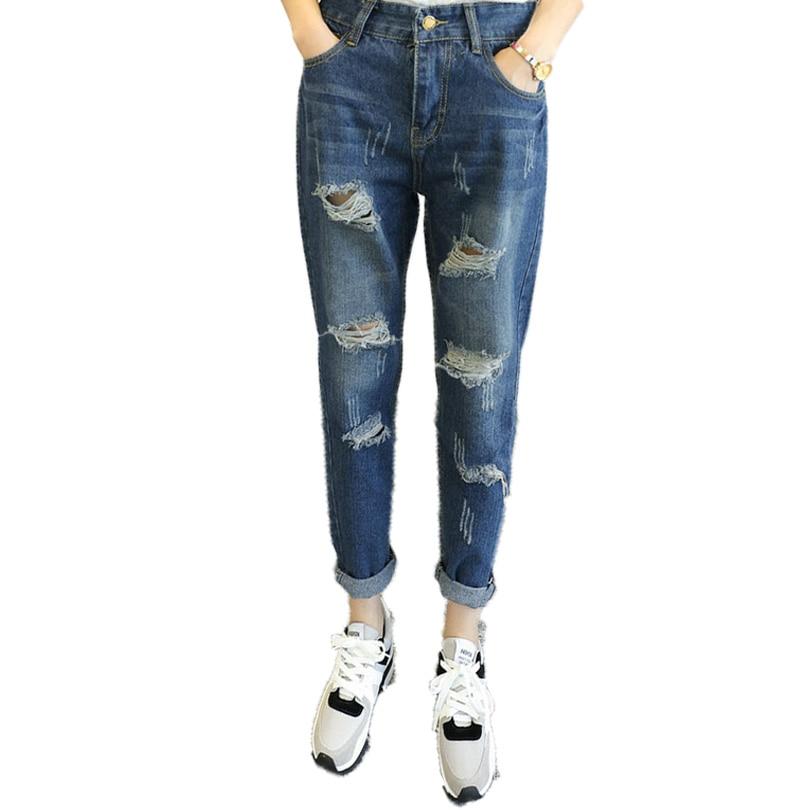 Fashion Womens Ripped Denim Pants Woman Blue Washed Jeans Trousers Girls Plus Size Jeans Pantalones 5XL 4XL 3XL 2XL Denim PantОдежда и ак�е��уары<br><br><br>Aliexpress