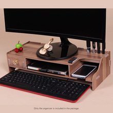 Wooden Monitor Stand Riser Computer Desk Organizer Holder with Keyboard Mouse Storage Slots for Office Supplies School Teachers(China)