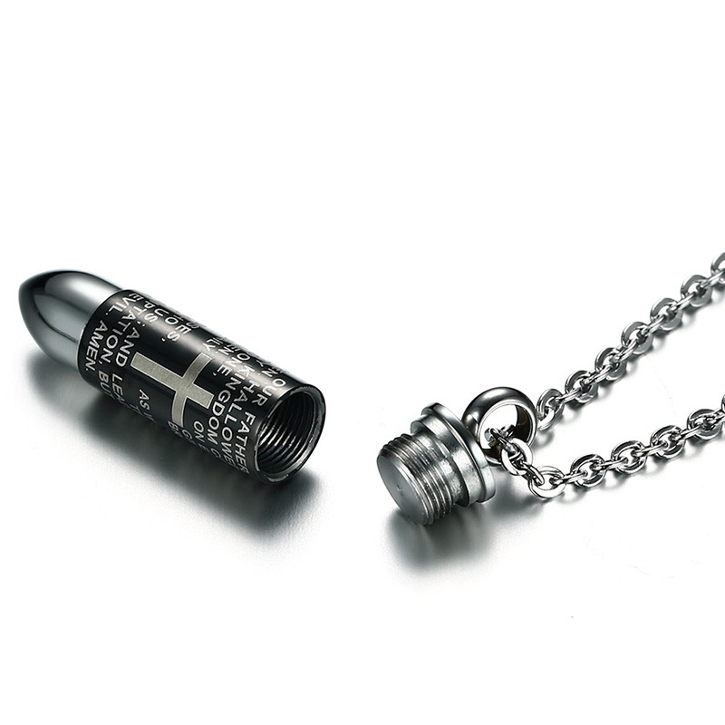 Meaeguet Stainless Steel Christian Bible Cross Bullet Pendant Necklaces For Men Religious Link Chain Necklace Jewelry (9)