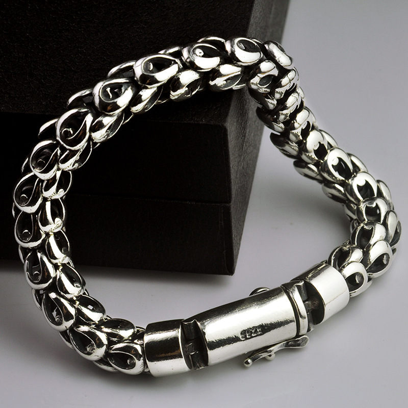 925 Sterling Silver Men Bracelet Dragon Scale Bracelet Men's Coarse Heavy Thai Silver Chain Punk Fashion Personality Bracelet