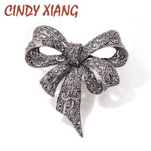 CINDY XIANG Black Color Rhinestone Bow Brooches for Women Large Bowknot Brooch Pin Vintage Fashion Jewelry Winter Accessories(China)