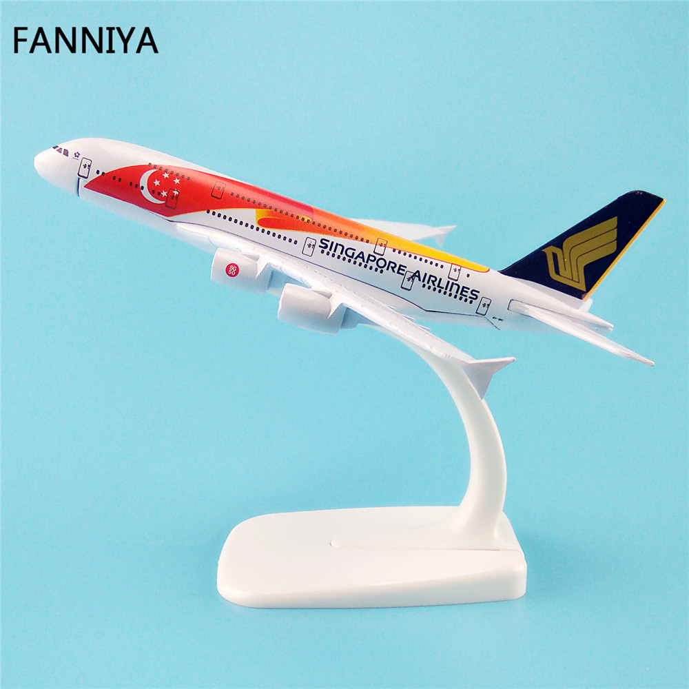 16cm Metal Airplane Model Red Air Singapore Airlines A380 Airbus 380 Aircraft Airways Plane Model W Stand Kids Gift(China (Mainland))