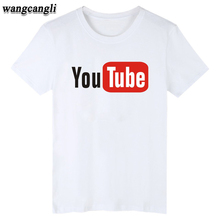 Funny Youtube Logo Black Printed Cotton T-shirt Men with 4XL You Tube Men T Shirt Luxury Brand in Tee Shirt Gray Summer wearing(China)