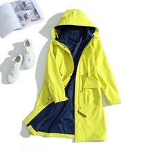 Autumn and winter new leisure women's candy color protection against wind and rain wear long trench coat