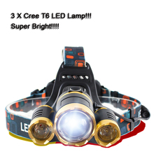 Supper Bright 7000 Lumens 3 x XML Cree T6 LED Headlamp Waterproof Headlight For Hunting Head Lamp With 2 18650 Battery&Charger(China)