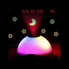 Colorful Noctilucent Hemispherical Stars Moon Style Projection Alarm Clock(China)