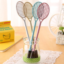 2 Pcs Creative Badminton Racket Gel Ink Pen Stationery Office Supplies, Insert Sets of Pen