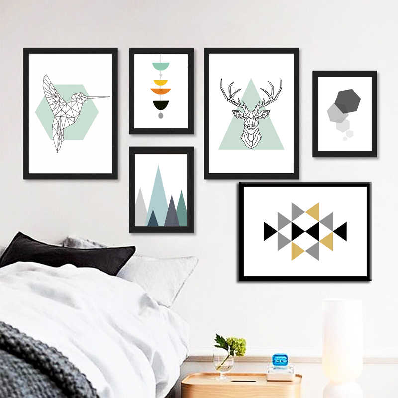 Nordic Style Abstract Geometry Figure Animals Canvas Print Painting For Art Home Wall Art DIY Decoration Art Posters No Frame
