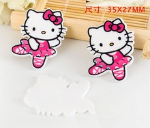 10pcs/Lot Free Shipping 35x27mm Kitty Hello Bow Dance flat back planar resin for diy holiday decoration crafts accessories E343d