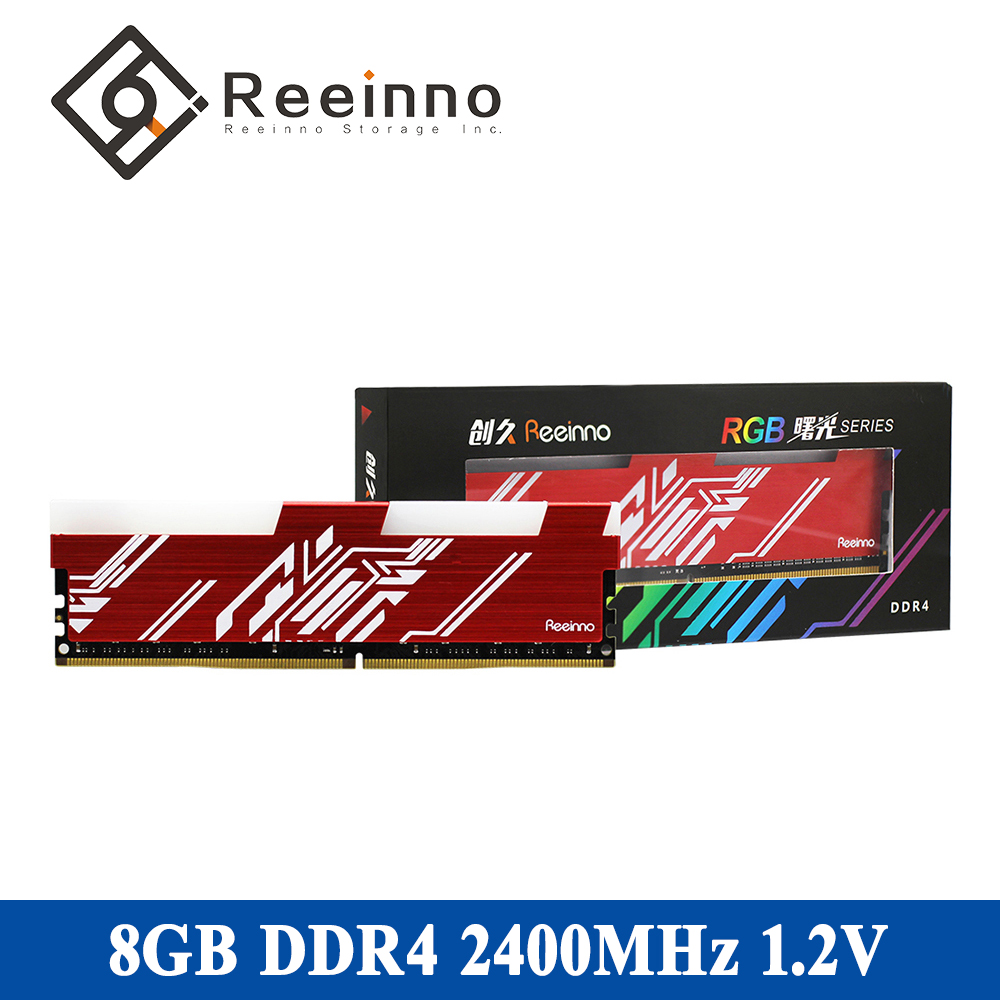 Reeinno RAM Memory DDR4 8GB Frequency 2400MHz Voltage 1.2V Interface Type 288pin Bandwidth 19200 17-17-17-39 Single Memory RAMs
