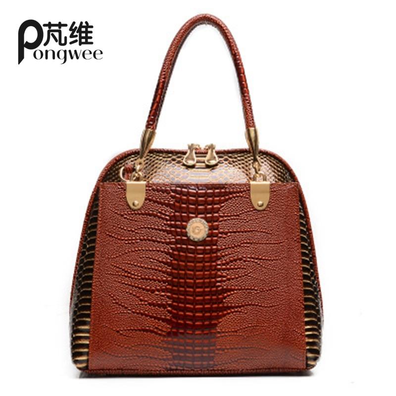 PONGWEE Brand Bag 2017 Fashion Snakeskin PU Leather Handbag Womens Satchel Diagonal Bags Women Bag Italian Leather Bags<br>