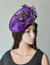 NEW Exclusive design Purple Sinamay fascinator Hat for Races,Wedding,Kentucky derby.