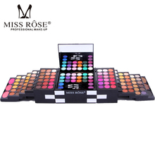 Miss Rose Brand Make Up Cosmetic Box Waterproof Shimmer Mineral Powder 144 Color Eyeshadow Blush Professional Full Makeup Kit(China)