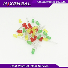 3Colors*10PCS=30PCS 5mm LED Diode Light Assorted Kit Yellow Red Green component diy samples kit new and original free shipping(China)