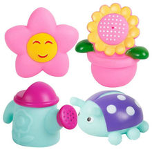 4pcs/lot Bath Toys in the Barthroom Kids Water Toys For Children Soft Rubber Toys for Boys Girls Rubber Duck Sea Animal Juguetes(China)
