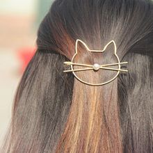 Fashion 1Pcs Girls Women Hair Accessories Hairgrips Headwear Gifts Cute Hollow Kitty Cat Hair Clip Barrette Hairpin(China)