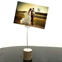 10pcs Wooden Wedding Table Card Photo Picture Holders Name Clip Hardwood Base Memo Deskplay Mountain wedding(China)