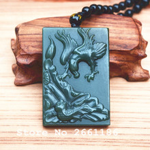 Natural Green Jades Pendant Carved Dragon and Fish lotus Pendant Necklace Gift for men's Fashion Stone Jewelry Free Rope