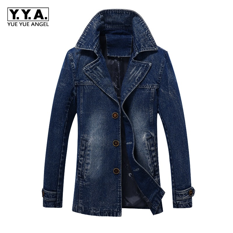 2019 New Business Men Denim Jacket Lapel Collar Single Breasted Denim Coat Washed Slim Fit Jeans Outwear Coat Large Size M-4XL
