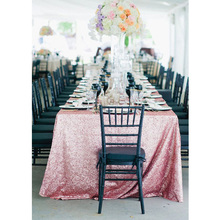 8FT Banquet Pink Gold Sequin Tablecloth 90x156inch(225x390cm) Glitter Sequin Tablecloths for Wedding Banquet Table Decoration