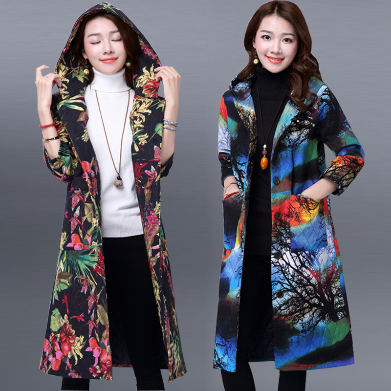 womens autumn and winter jacket women thin wadded jacket female  plus size cotton-padded jacket with a hood print winter coat Одежда и ак�е��уары<br><br><br>Aliexpress