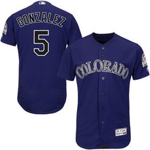 MLB Men's Colorado Rockies Carlos Gonzalez Baseball Purple Alternate Authentic Collection Flex Base Player Jersey(China)