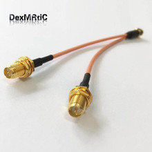 SMA male  to 2X RP-SMA female (male pin) Y type Splitter Combiner Pigtail cable RG316 15CM 6""