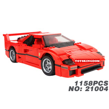 Classic Creator scale Italy famous brand horse logo red super sport car F40 auto building block model bricks 10248 toys for boys