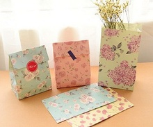 Seal sticker include Stand up Flower printing Paper Favor Bags Open Top Paper Gift Bags
