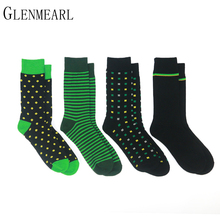 4 Pairs/Lot Cotton Men Socks Brand Business Spring Fall Plus Size Compression Coolmax Striped Point Funny Happy Dress Male Socks(China)