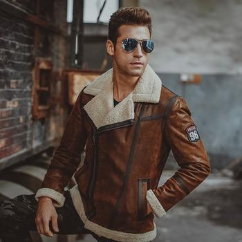 Hommes en cuir véritable de veste En Fausse fourrure en peau de mouton moto peau de porc Véritable En Cuir blousons aviateur manteau hommes