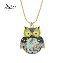 Jufee Cute Lovely Gold-Color Chain With Orange Blue Enamel Colorful Owl Pendant Chain Necklace Jewelery For Women Accessories(China)